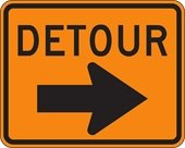 Orange and Black Detour Sign with Arrow