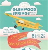 Poster for Glenwood Springs' Aviation Expo featuring yellow airplane in blue-green sky.