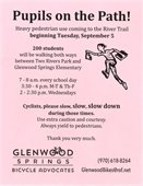 Walking school bus flyer. pink background with black text and black outline of child