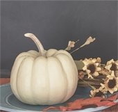 White pumpkin with flowers painting