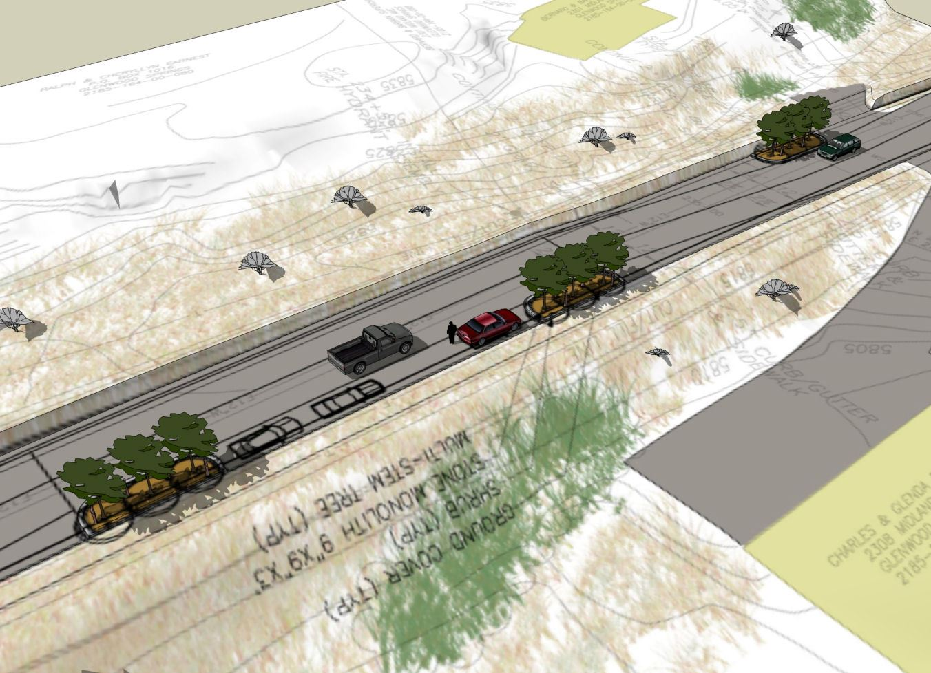 A conceptual design of the extending curb for Midland Avenue
