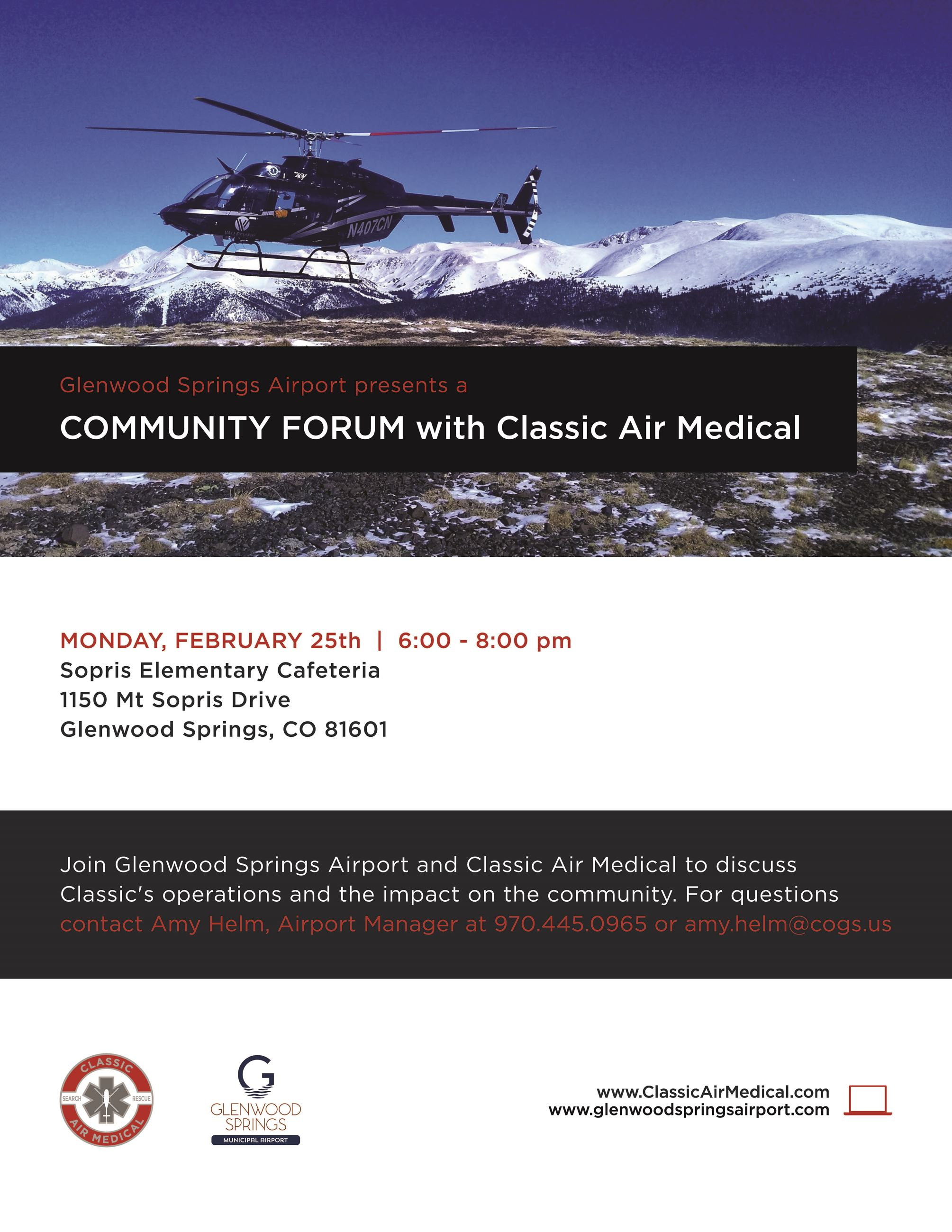 Glenwood Springs Airport Community Forum with Classic Air Medical